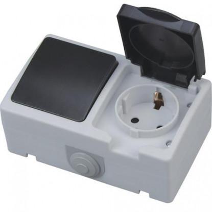 ATOM розетка накладная с заземлением + выключатель