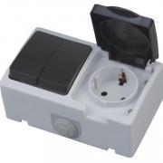 ATOM розетка накладная с заземлением + выключатель двухклавишный