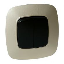 ELA выключатель 2-клавишный золото + черный