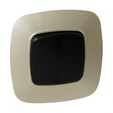 ELA выключатель 2-клавишный с подсветкой золото + черный