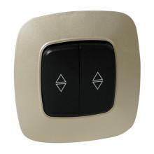 ELA выключатель проходной 2-клавишный золото + черный