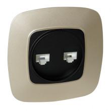 ELA розетка двойная компьютерная золото + черный