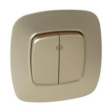 ELA выключатель 2-клавишный с подсветкой золото