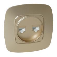 ELA розетка двойная компьютерная золото