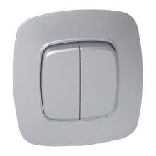 ELA выключатель 2-клавишный серебро