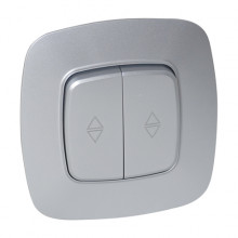 ELA выключатель проходной 2-клавишный серебро