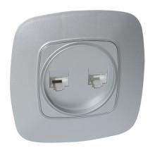 ELA розетка двойная компьютерная серебро