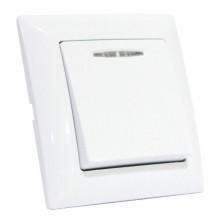 TINA выключатель 1-клавишный с подсветкой белый