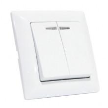 TINA выключатель 2-клавишный с подсветкой белый